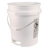 5 Gallon White Buckets with Plastic Handle & Bottom Handle