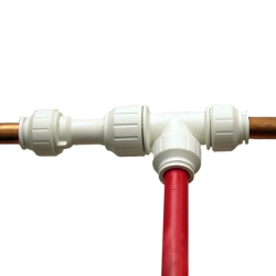 1 2 cts pex tee installation kit u s plastic corp for Plastic water pipe pex