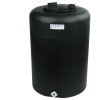 "25 Gallon Tamco® Vertical Black PE Tank with 8"" Lid & 3/4"" Fitting - 19"" Dia. x 27"" High"