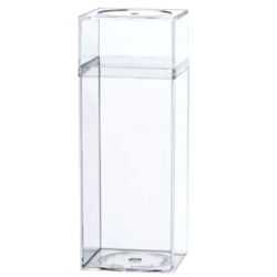Clear Plastic Boxes witClear Plastic Box with Removable Lid 2 5/16 x 2 5/16 x 6 3/16