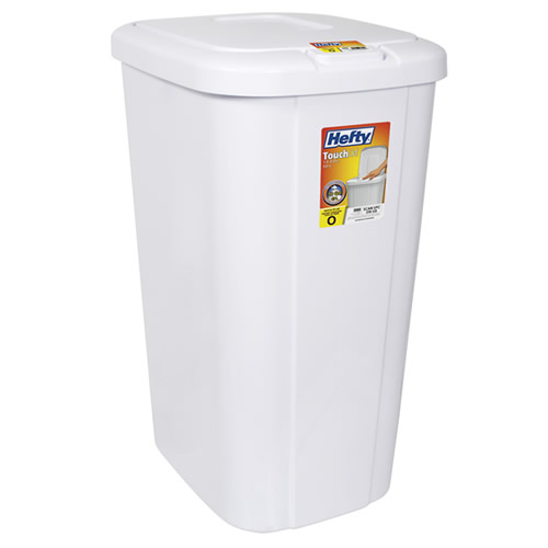 Hefty White 13 3 Gallon Touch Lid Trash Can