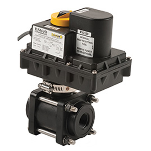 "Banjo Electric 3 Way Directional Ball Valve: 3/4"" Electric Ball Valve"