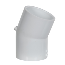 "1-1/2"" Schedule 40 White PVC 22-1/2° Slip x Slip Elbow"