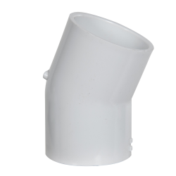 "2"" Schedule 40 White PVC 22-1/2° Slip x Slip Elbow"