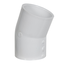 "2-1/2"" Schedule 40 White PVC 22-1/2° Slip x Slip Elbow"