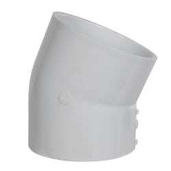 "4"" Schedule 40 White PVC 22-1/2° Slip x Slip Elbow"