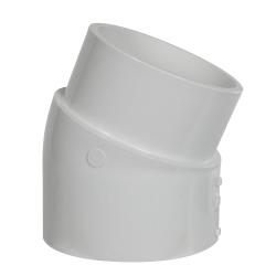 """4"""" Schedule 40 White PVC 22-1/2° Slip x Spigot Elbow"""
