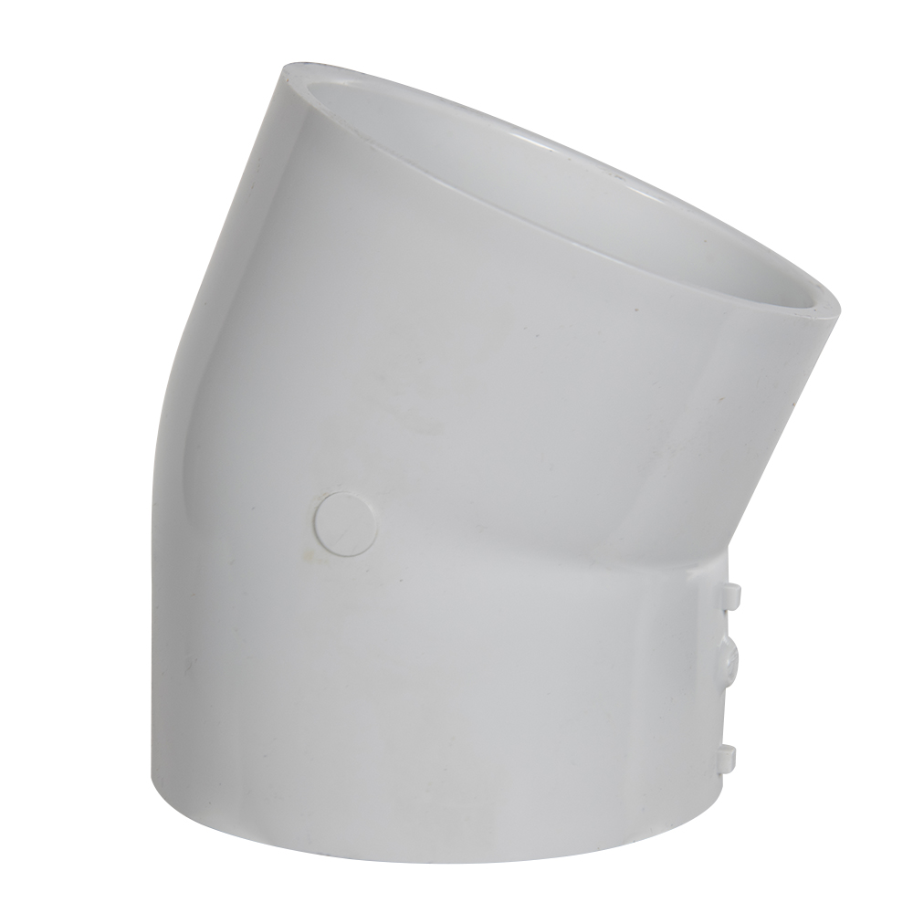 "4"" Schedule 40 White PVC 22-1/2° Slip x Slip Elbow"