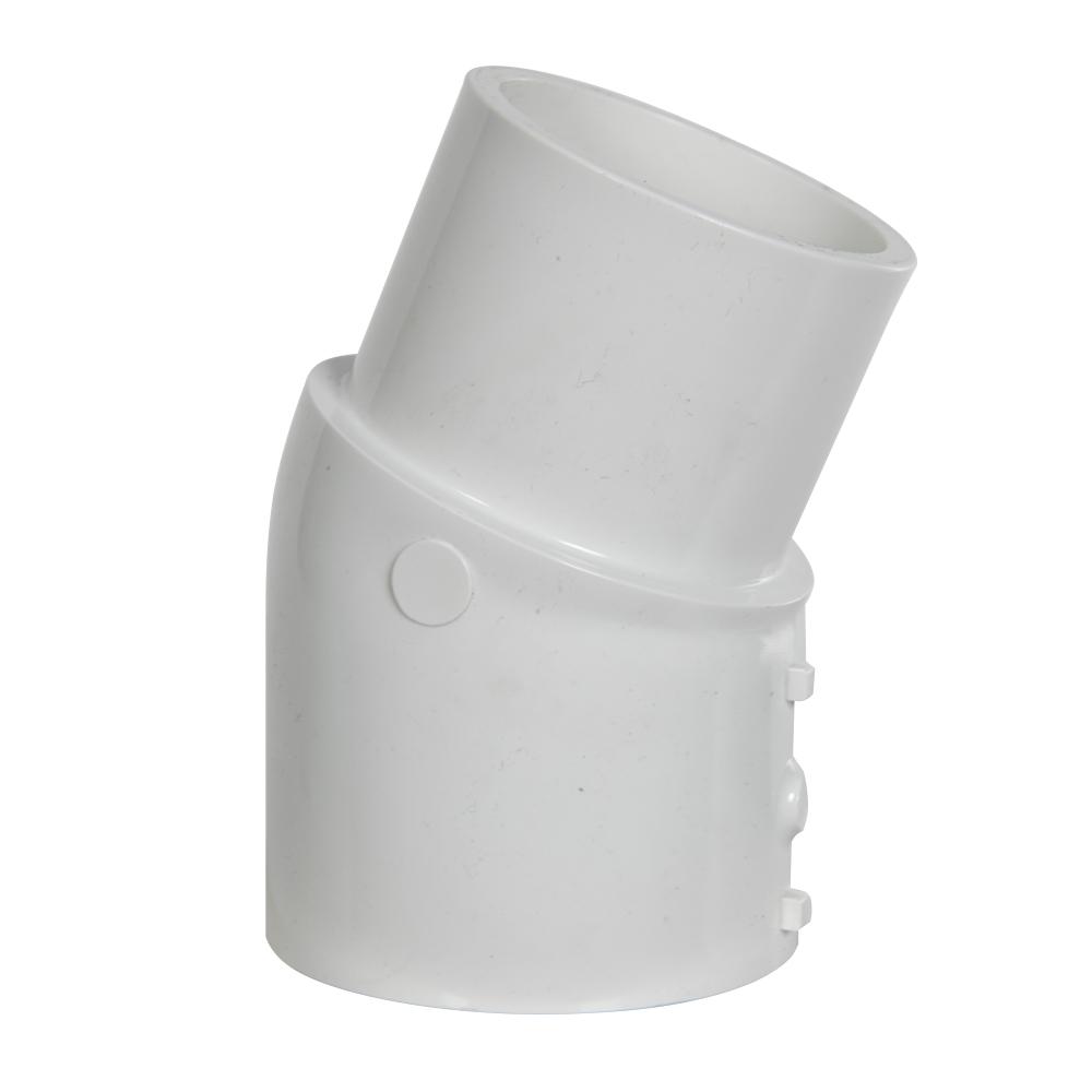 """2-1/2"""" Schedule 40 White PVC 22-1/2° Slip x Spigot Elbow"""
