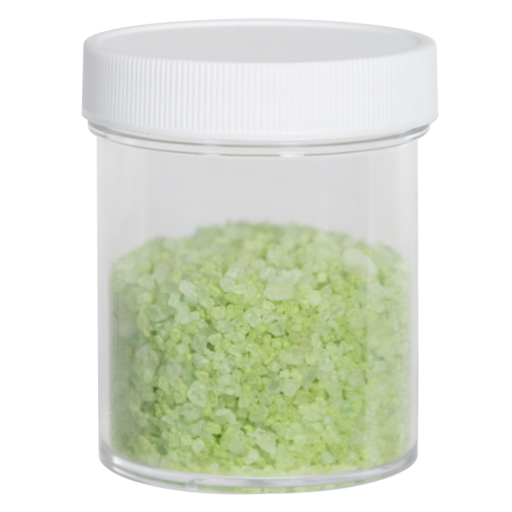 4 oz. Clear Polystyrene Straight Sided Jar with White 58/400 Cap