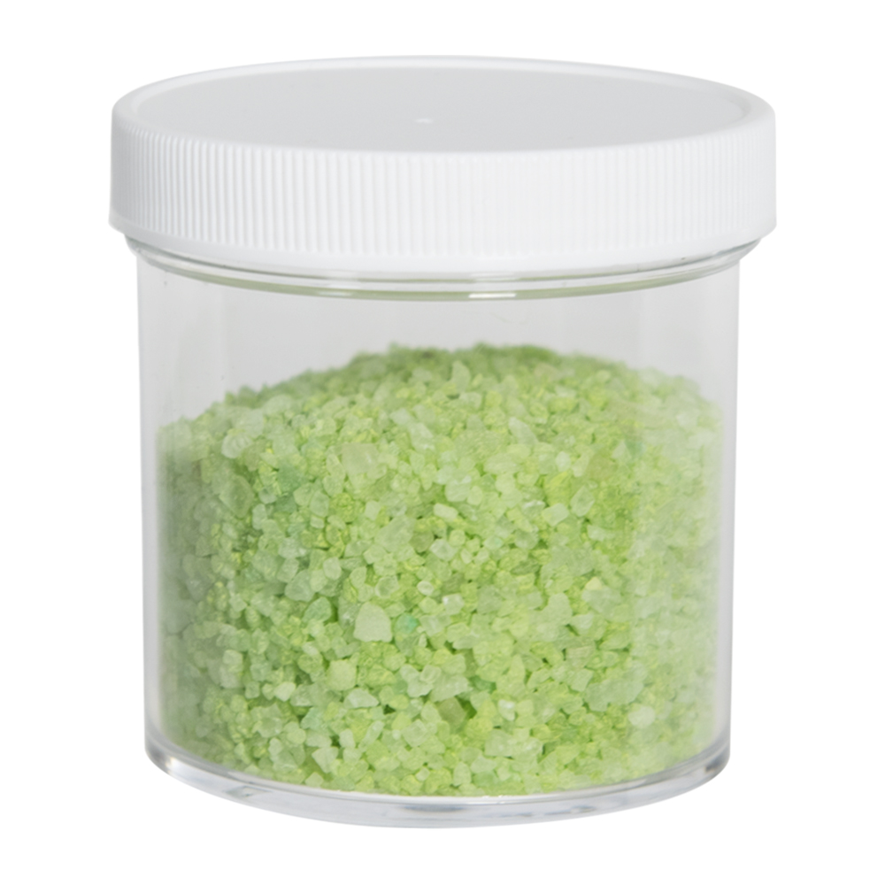 6 oz. Clear Polystyrene Straight Sided Jar with White 70/400 Cap