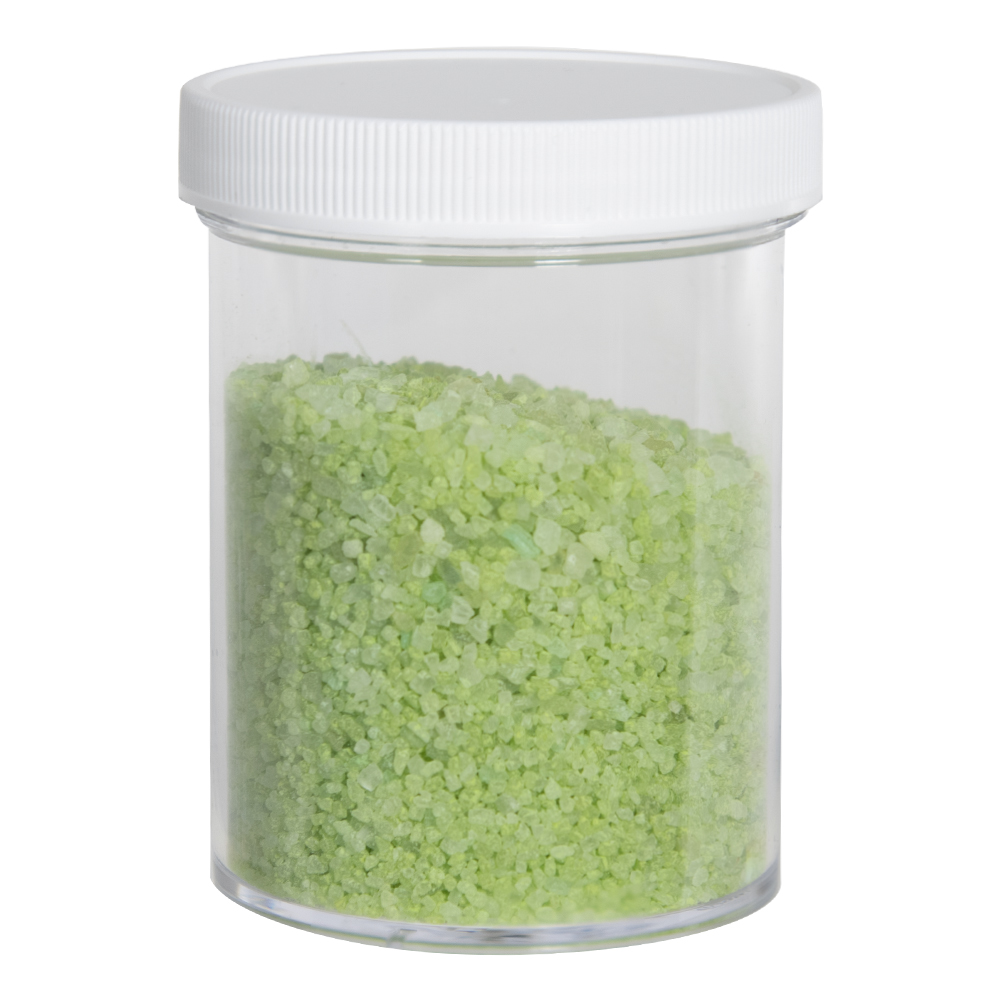 8 oz. Clear Polystyrene Straight Sided Jar with White 70/400 Cap