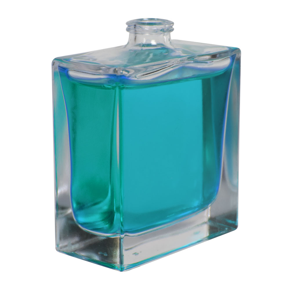 50mL Clear Squat Rectangle Glass Perfume Bottle with 15mm Neck - Case of 108 (Cap Sold Separately)