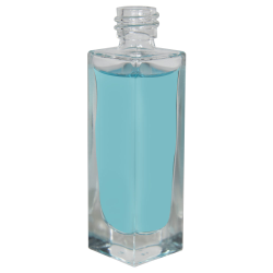 30mL Clear Tall Rectangular Glass Bottle with 18/415 Neck - Case of 270 (Cap Sold Separately)