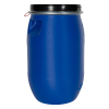 8 Gallon Blue UN Rated Open Head Drum with Lever Lock Lid & Indented Handles