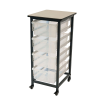 Clear Single Row Luxor Mobile Bin Storage Unit with 4 Large Bins