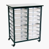 Clear Double Row Luxor Mobile Bin Storage Unit with 16 Small Bins