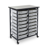 Gray Double Row Luxor Mobile Bin Storage Unit with 16 Small Bins
