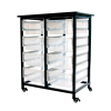 Clear Double Row Luxor Mobile Bin Storage Unit with 8 Large Bins