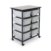 Gray Double Row Luxor Mobile Bin Storage Unit with 8 Large Bins