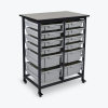 Gray Combo Luxor Mobile Bin Storage Unit with 8 Small & 4 Large Bins