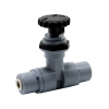 "1/4"" OD Push-to-Connect x 1/4"" OD Push-to-Connect PVC Needle Valve with PTFE Seal"
