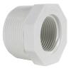 "1-1/2"" MNPT x 1"" FNPT Schedule 40 White PVC Threaded Reducing Bushing"
