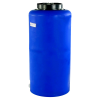 "35 Gallon Tamco® Vertical Blue PE Tank with 12-1/2"" Lid & 3/4"" Fitting - 19"" Dia. x 39"" High"