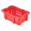 "24"" x 16"" Ventilated Stack-N-Nest Red Bakery Crate with Drain Holes"