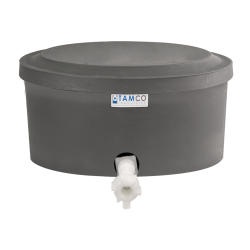 "6 Gallon Gray Polyethylene Shallow Tank with Cover & Spigot - 7"" High"