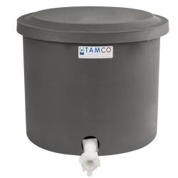 "10-12 Gallon Gray Polyethylene Shallow Tank with Cover & Spigot - 14"" High"