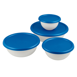 Sterilite® Covered White Bowl Set with Blue Atoll Lids