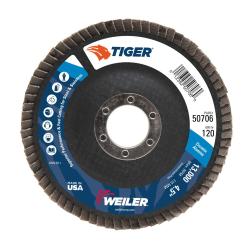 "4-1/2"" Dia. x 7/8"" Arbor Hole x 120 Grit Original Tiger® Phenolic Back Flap Disc - Type 27"