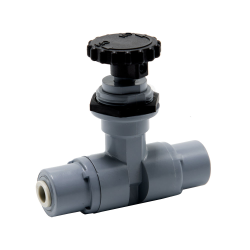 """1/4"""" OD Push-to-Connect x 1/4"""" OD Push-to-Connect PVC Needle Valve with PTFE Seal"""