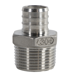 "3/4"" PEX x 1"" MNPT Stainless Steel Male Adapter"