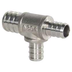 "3/4"" x 1/2"" x 1/2"" PEX Stainless Steel Reducer Tee"