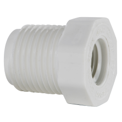 "1/2"" MNPT x 1/4"" FNPT Schedule 40 White PVC Threaded Reducing Bushing"