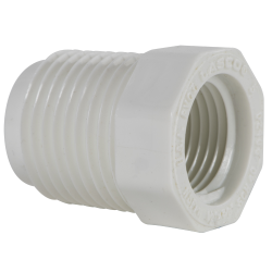"1/2"" MNPT x 3/8"" FNPT Schedule 40 White PVC Threaded Reducing Bushing"
