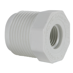 "3/4"" MNPT x 1/4"" FNPT Schedule 40 White PVC Threaded Reducing Bushing"