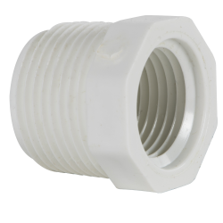 "3/4"" MNPT x 1/2"" FNPT Schedule 40 White PVC Threaded Reducing Bushing"