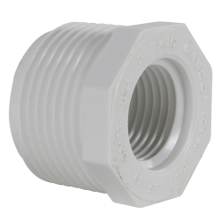 "1"" MNPT x 1/2"" FNPT Schedule 40 White PVC Threaded Reducing Bushing"