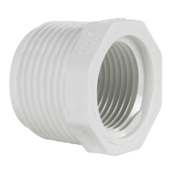 "1"" MNPT x 3/4"" FNPT Schedule 40 White PVC Threaded Reducing Bushing"