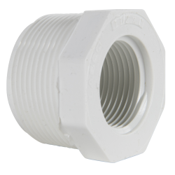 "1-1/2"" MNPT x 3/4"" FNPT Schedule 40 White PVC Threaded Reducing Bushing"