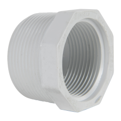 "1-1/2"" MNPT x 1-1/4"" FNPT Schedule 40 White PVC Threaded Reducing Bushing"