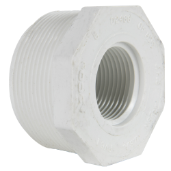"2"" MNPT x 1"" FNPT Schedule 40 White PVC Threaded Reducing Bushing"