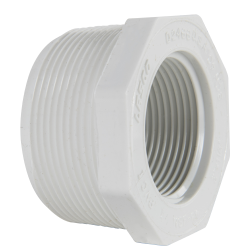 "2"" MNPT x 1-1/4"" FNPT Schedule 40 White PVC Threaded Reducing Bushing"