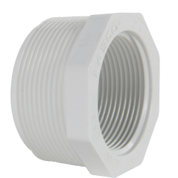 "2"" MNPT x 1-1/2"" FNPT Schedule 40 White PVC Threaded Reducing Bushing"