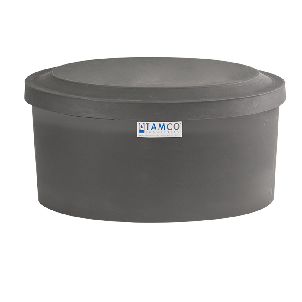 "6 Gallon Gray Polyethylene Shallow Tank with Cover - 7"" High"