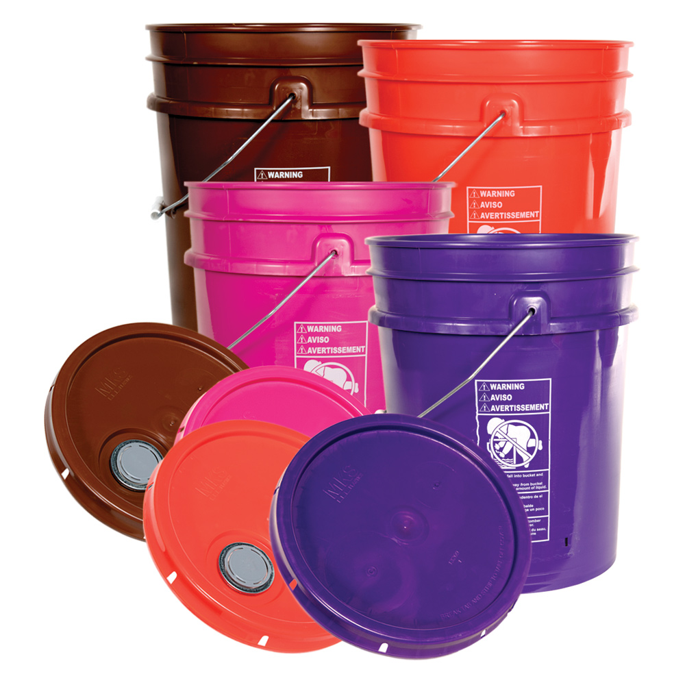 Premium Colored 5 Gallon Buckets & Lids