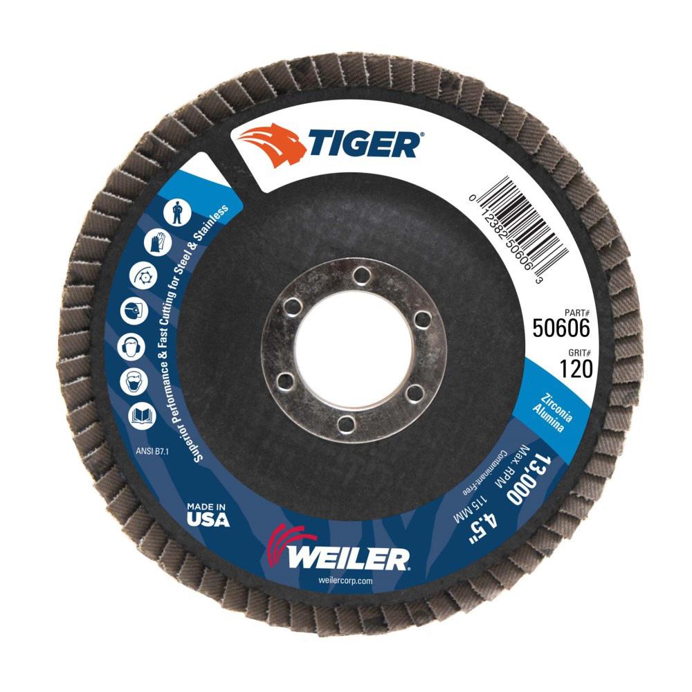 "4-1/2"" Dia. x 7/8"" Arbor Hole x 120 Grit Original Tiger® Phenolic Back Flap Disc - Type 29"